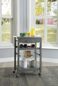 Joey Grey Stainless Top Kitchen Rolling Cart