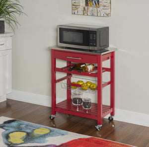 Joey Stainless Top Kitchen Rolling Cart in Red