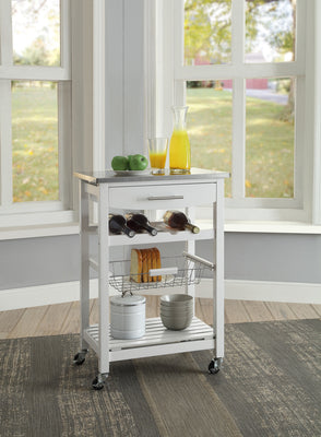 Joey White Stainless Top Kitchen Rolling Cart