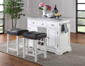 WEEKLY or MONTHLY. Zemmy Marble Top Kitchen Island and 2 Stools