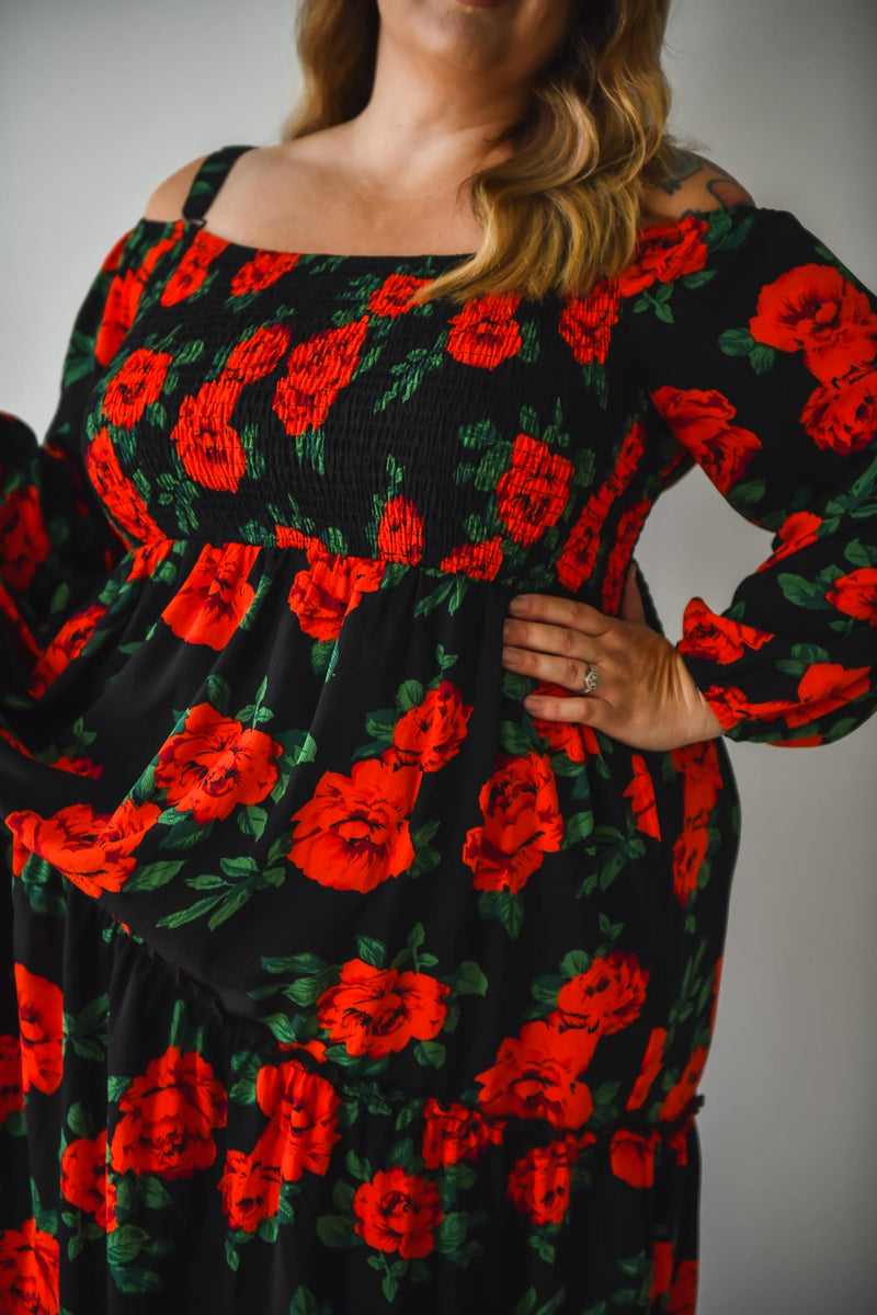 Aaliyah Dress - Red floral - Friday Flamingo