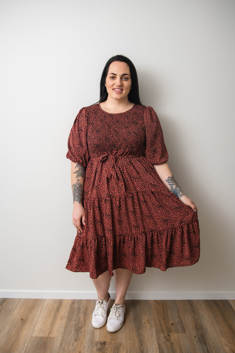 Saskia Dress - Rust - Friday Flamingo