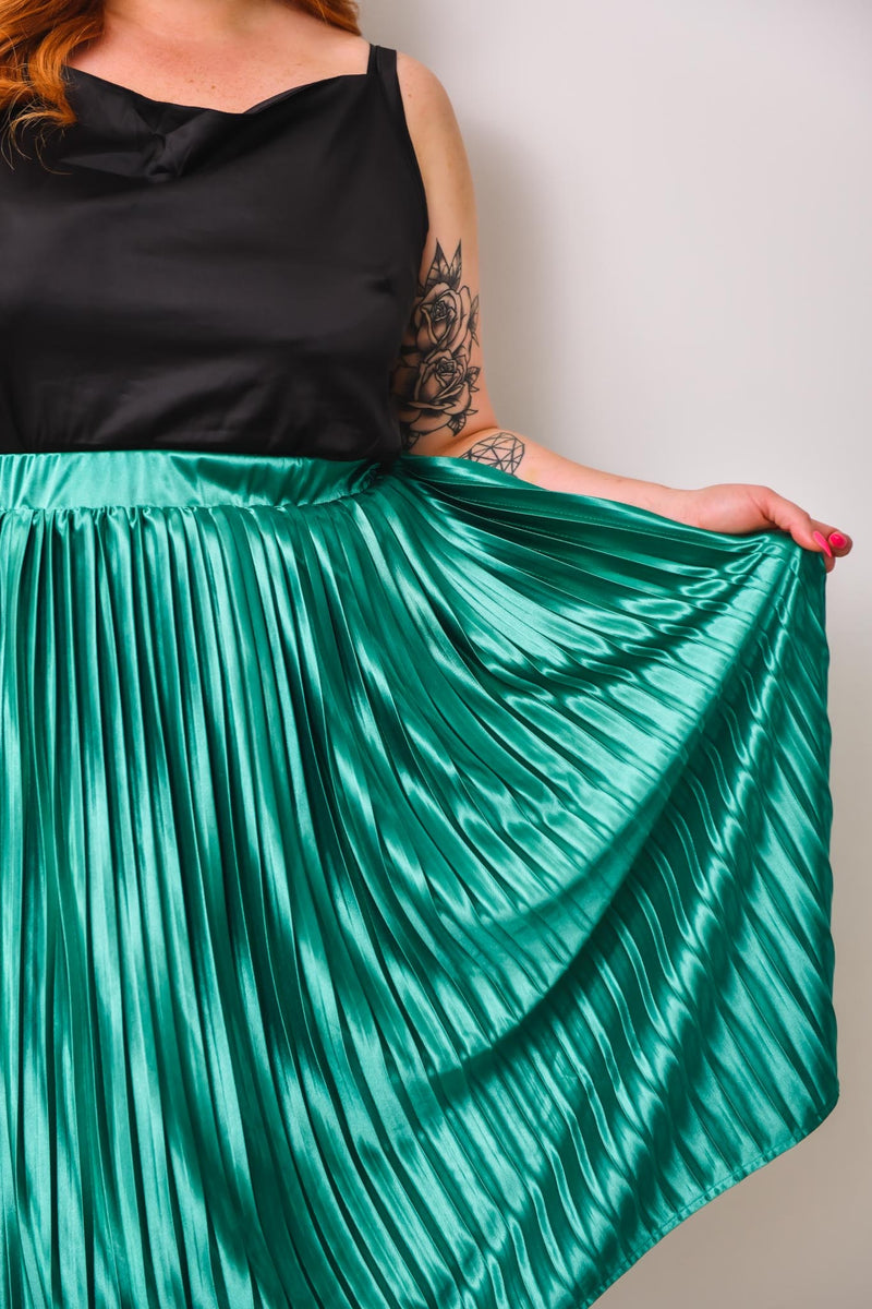 Nina Pleated Skirt - Emerald - Friday Flamingo