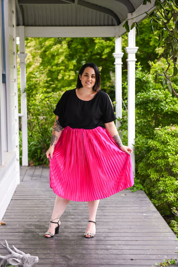 Nina Pleated Skirt - Magenta - Friday Flamingo