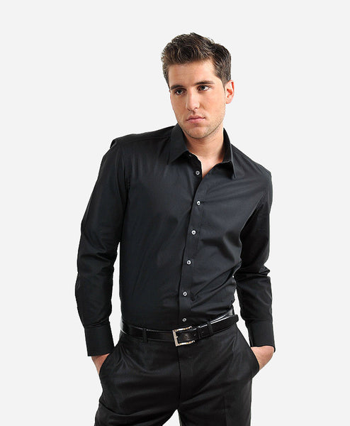 Soni Black Polyester Self Polka Doted Shirt