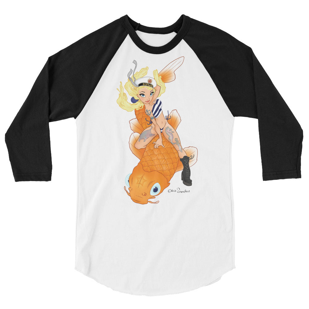 Koi Girl - 3/4 sleeve raglan shirt - unisex