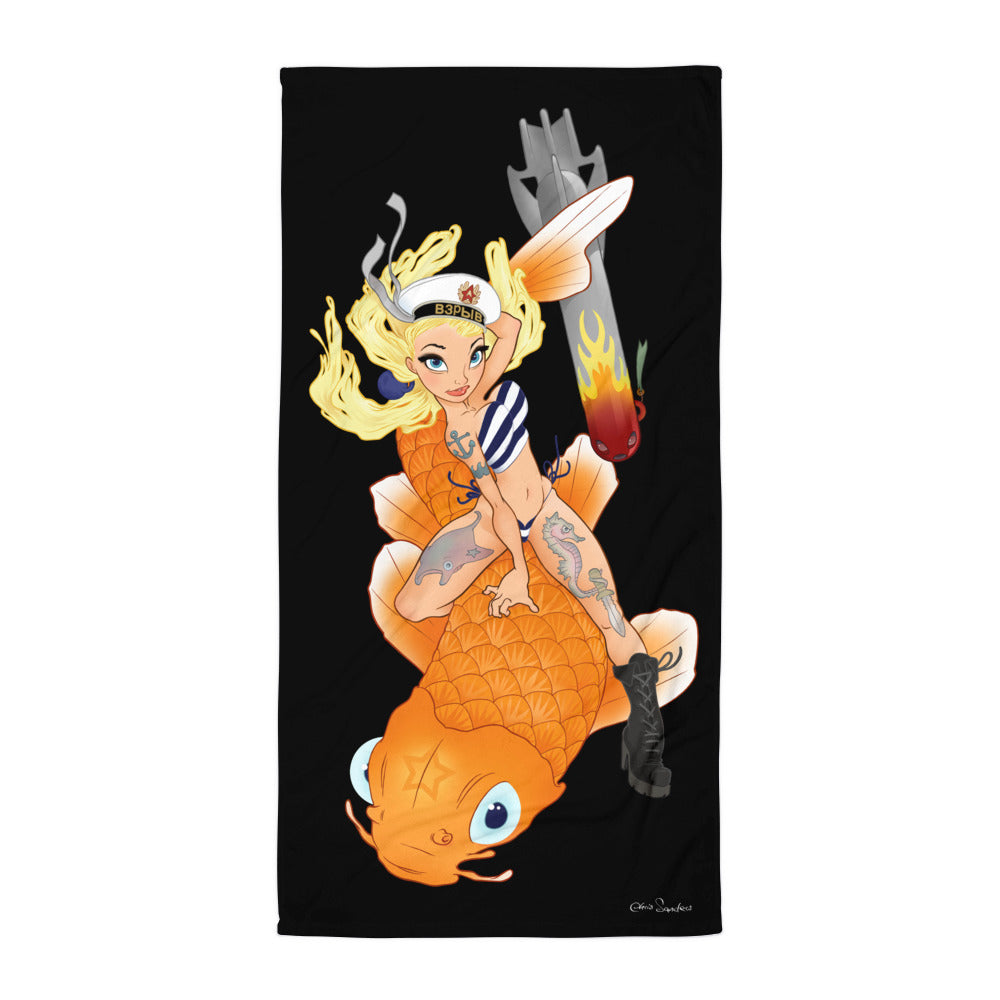 Koi Girl - beach towel