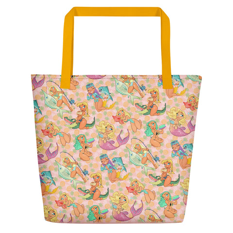 Pin-Up beach bag - Florida Girls (Pink Pineapple)
