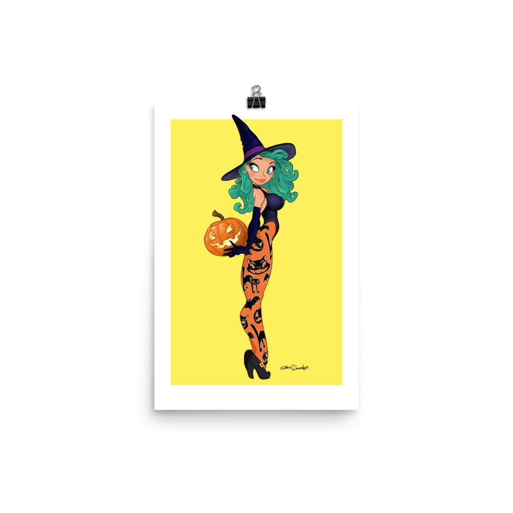 Pumpkin Witch - enhanced matte paper poster