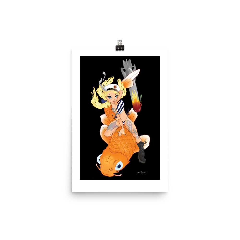 Koi Girl - enhanced matte paper poster