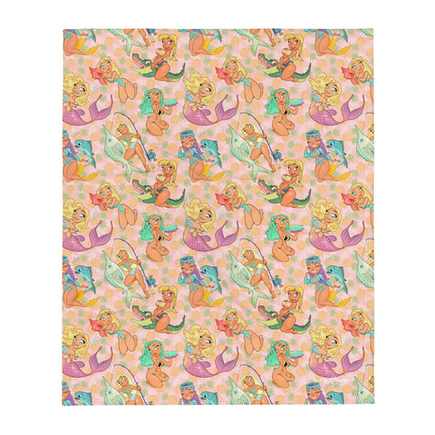 Florida Girls (Pink Pineapple) - Pin-Up throw blanket