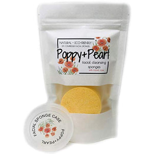 Poppy and Pearl Compressed Facial Cleansing Sponge w/ Travel Case - 25/50 pack
