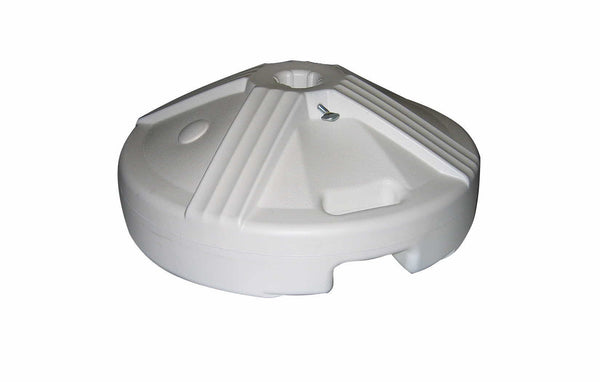 WHITE UMBRELLA BASE (POLYPROPYLENE)  - FACTORY WEIGHTED TO 50 LBS.
