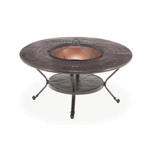 48'' ROUND KD FIREPIT (WOOD BURNING)  CAST ALUMINUM TOP COPPER-PAINTED FIRE BOWL