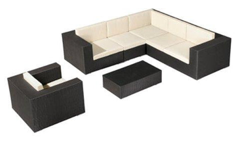 Cartagena 7pc Outdoor Wicker Sectional in Espresso and Beige colors