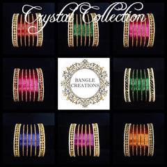 Plated Crystal & Pearl Bangle Stack