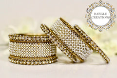 Gold Bangle Stack with Pearl & Diamanté stones