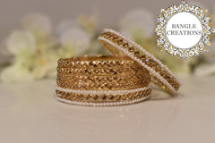 Plated Crystal bangle set of 6 - Gold Stones