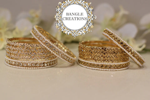 Red Sparkly Crystal Rhinestone Coated Bangles Set of 4