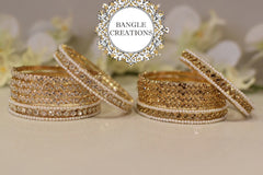 Plated Crystal bangle set of 6 - Clear Stones
