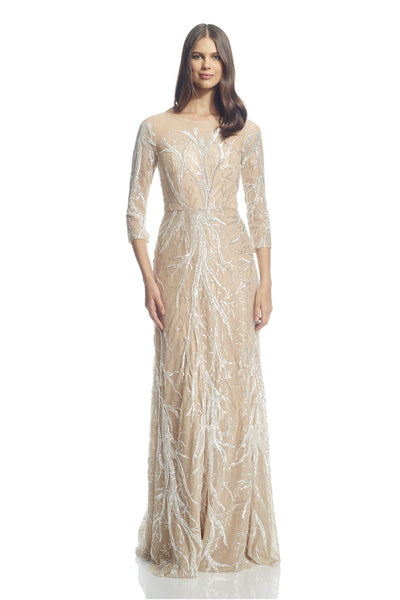 3/4 Sleeve Embroidered Gown
