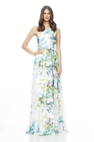 One Shoulder Printed Gown