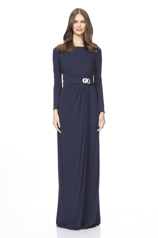Long Sleeve Navy Jersey Gown