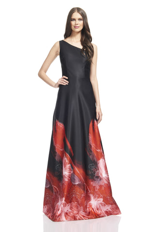 One Shoulder A-Line Gown