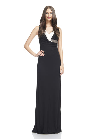 V-Neck Asymmetric Jersey Gown