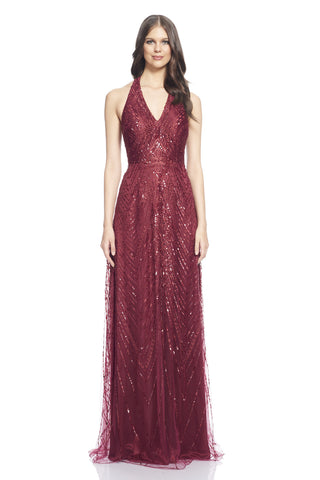 V-neck halter beaded and embroidered mesh gown