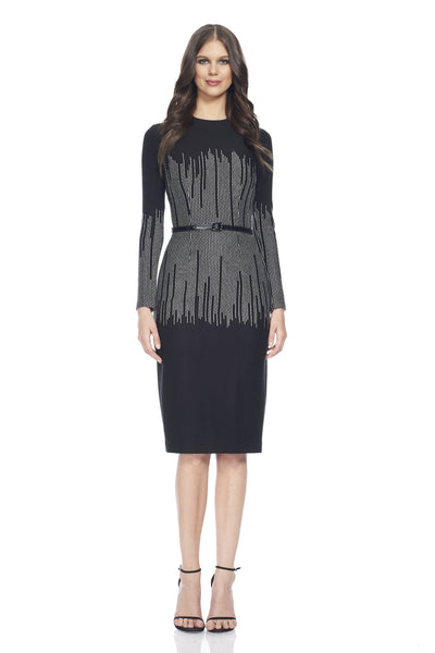 Long sleeve jersey dress with vertical lurex thread detail