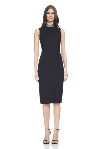Ponte sleeveless day dress with high-collar