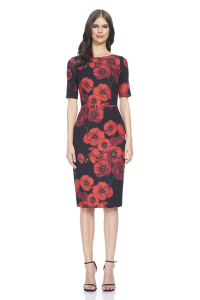 Short sleeve printed poppy crepe day dress