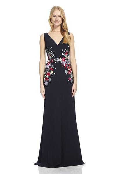 Crepe Gown with Embroidered Detail