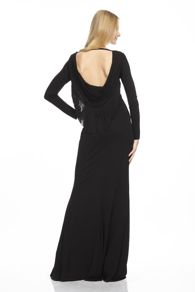 Long Sleeve Jersey Gown with Cowl Back