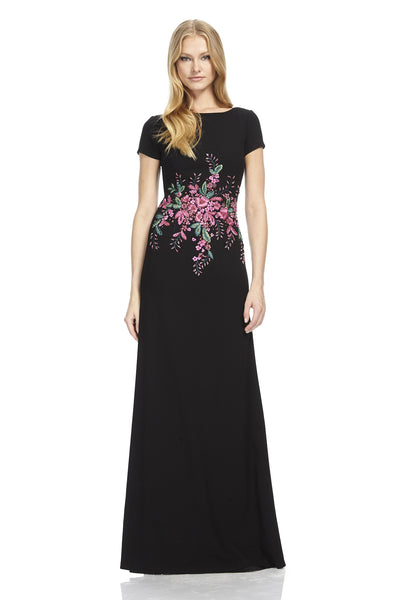 Crepe Gown with Beaded Detail