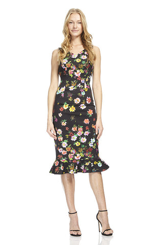 Floral Trumpet Cotton Day Dress