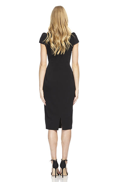 Cap-sleeved stretch crepe day dress