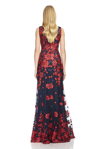 Boat Neck Embroidered A-Line Gown