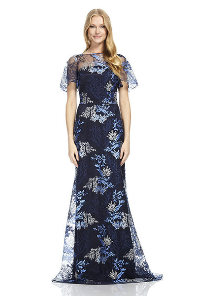 Bell Sleeved Embroidered Mesh A-Line Gown