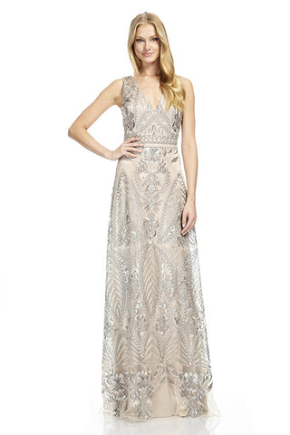 V-Neck Silver Gown