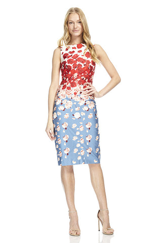 Blue & Red Boat Neck Cotton Day Dress
