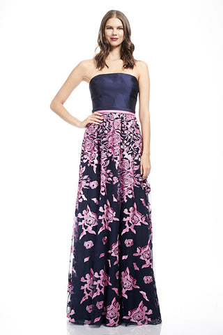 Strapless Gown with Embroidered Skirt