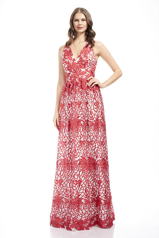 Embroidered V Neck Gown