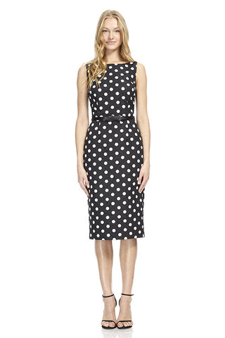 Boatneck Printed Jacquard Day Dress