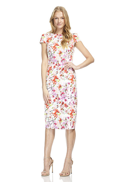 Cap Sleeve Floral Printed Dress