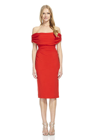 Off Shoulder Draped Cocktail Dress