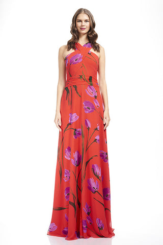 Cotton Printed Chiffon Gown