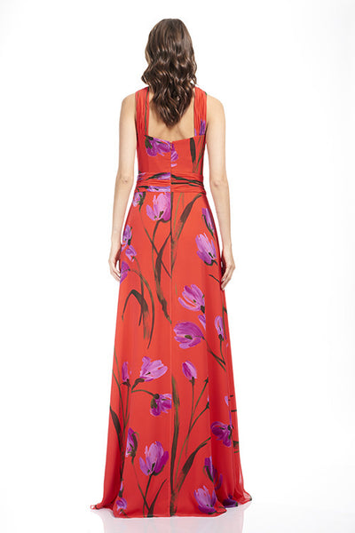 Tulip Cross Neck Chiffon Gown