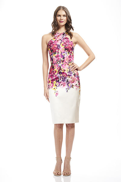 Printed Cross Neck Cocktail Dress